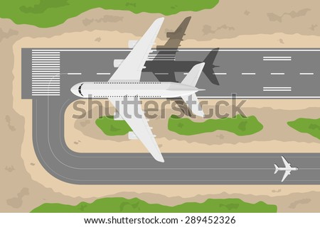 picture of a civilian plane taking-off fromm landing strip, flat style illustration - stock vector
