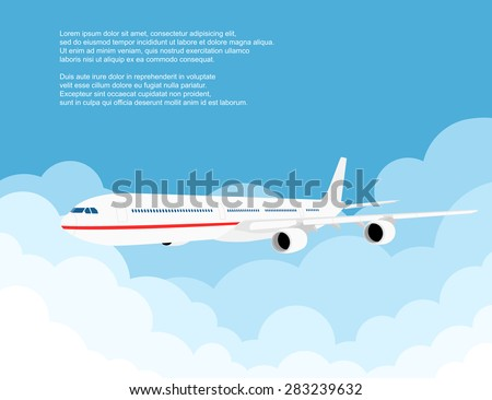 picture of a civilian plane with clouds, flat style illustration - stock vector