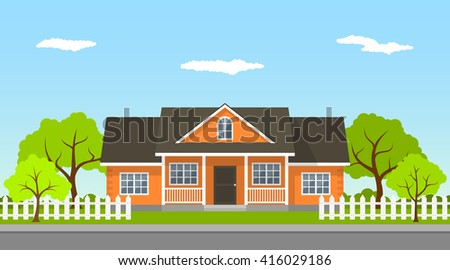 picture of a classic cottage house with trees and road, flat style illustration