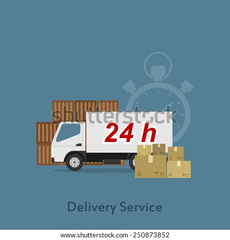 Picture of a delivery truck with package boxes, flat style illustration, shopping, delivery, shipment concept - stock vector