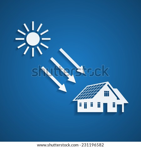 picture of a house silhouette with solar panels on the roof and the sun, alternative energy concept - stock vector