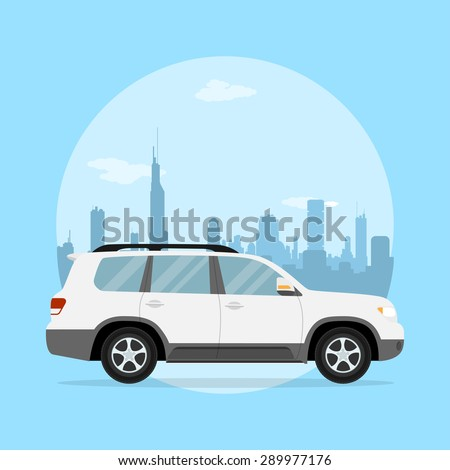 picture of a jeep in front of a big city silhouette, flat style illustration - stock vector
