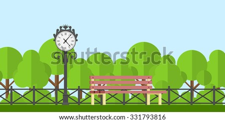 picture of a park bench and park clock with fence and trees on background, flat style illustration