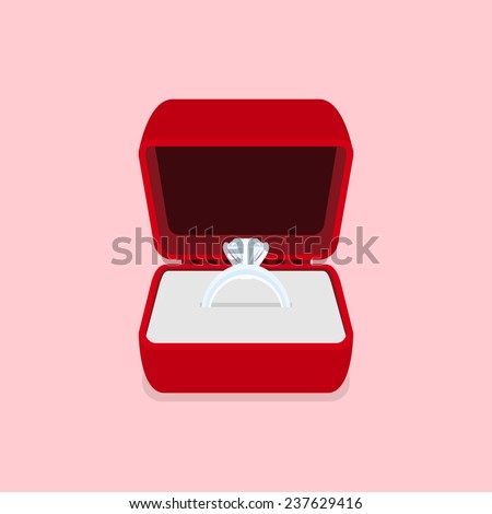picture of a ring with diamond, flat style illustration - stock vector