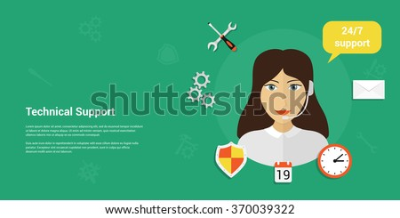 Picture of a woman wearing headset with icons and speech bubble. Customer service, technical support concept flat style design for web banners, web sites, printed materials, infographics. - stock vector