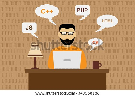picture of a working programmer, software development concept, flat style illustration - stock vector