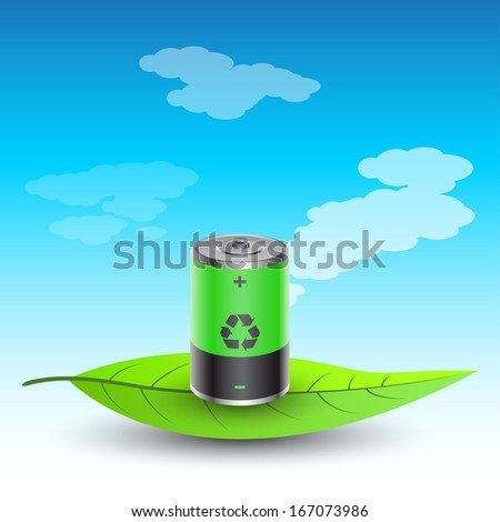 picture of battery charged with recycled energy on leave, vector eps10 illustration - stock vector