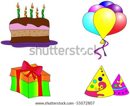 Picture of birthday cake, balloons, gift and caps - stock vector