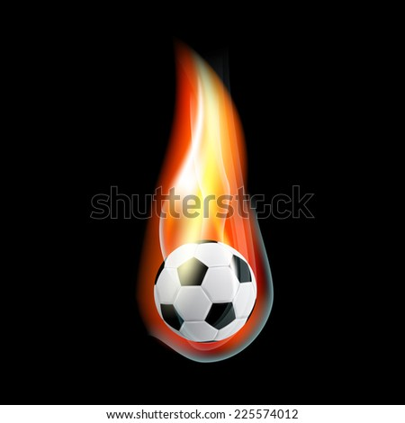 picture of burning soccer ball on black background - stock vector