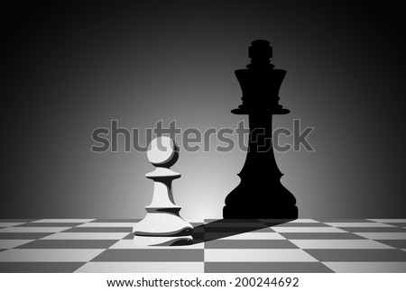 picture of chess pawn dropping shadow of a queen, strength aspiration and leadership concept - stock vector