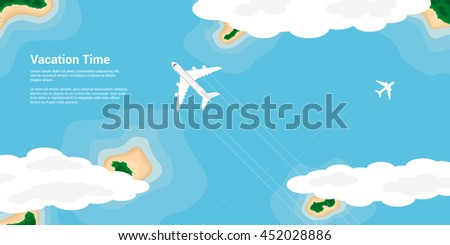 picture of civilian planes flying above the islands, flat style illustration, banner for business, website etc., traveling, vacation, around the world concept