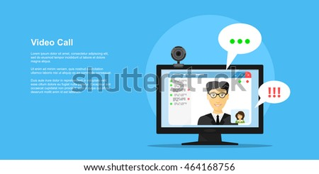 picture of computer monitor with online conference application interface, web camera and people avatars, flat style concept banner, video call, online conference, online training