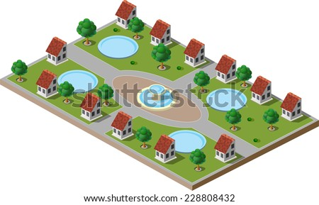 Picture of green park with trees, lawns, a fountain and houses. There is also a swimming pool in each house. - stock vector