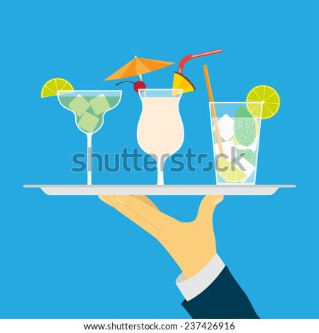 picture of human hand holding tray with cocktails, flat style illustration - stock vector
