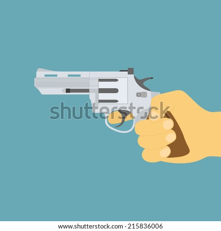 picture of human hand with revolver gun, flat style icon - stock vector