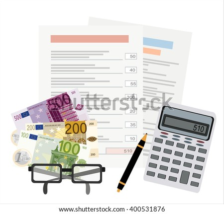 Picture of invoice sheet, pen, calculator, coins, banknotes and glasses, flat style illustration, invoice payment concept - stock vector