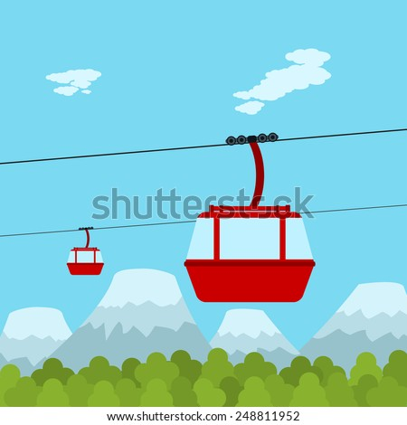 Picture of red ropeway cabines with forest and mountain on background, flat style illustration - stock vector