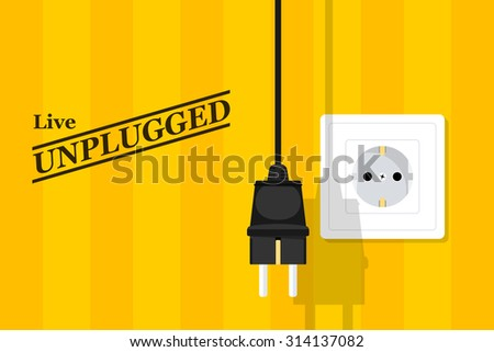 picture of socket and plug, flat style illustration, live music poster - stock vector