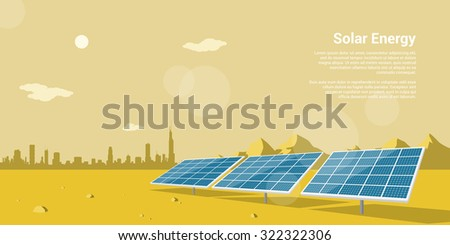picture of solar batteries in a desert with mountains and big city silhouette on background, flat style concept of renewable solar energy - stock vector