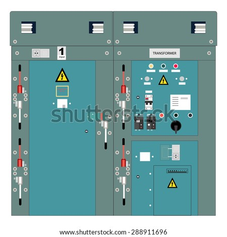 Picture of the electrical panel, electric meter and circuit breakers,high-voltage transformer - stock vector