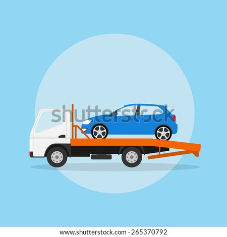 picture of the tow truck with car on it, flat style illustration - stock vector