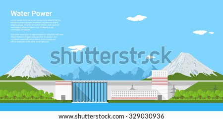 picture of water power plant in front of mountains, flat style banner concept of renewable energy and ecological power generation