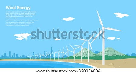 picture of wind turbines on a sea shore, flat style concept of renewable wind energy - stock vector