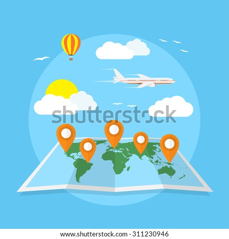 picture of world map with pointers, clouds, balloon and plane, travel, around the world, vacation concept, flat style illustration - stock vector