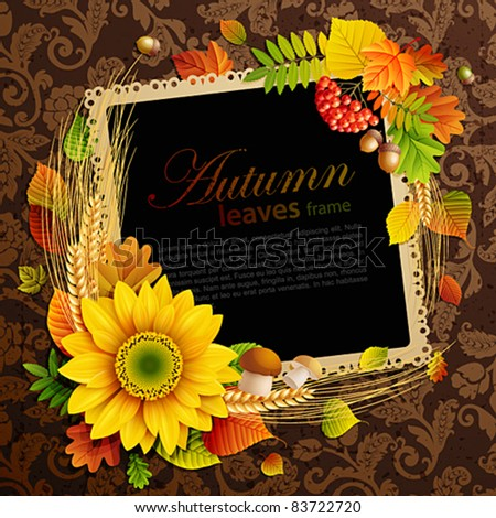 Picture on autumn background with colorful leaves. Vector illustration. Check my portfolio for raster version. - stock vector