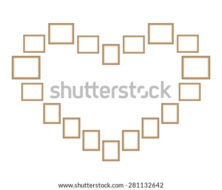 Picture photo frames vector, heart shape - stock vector