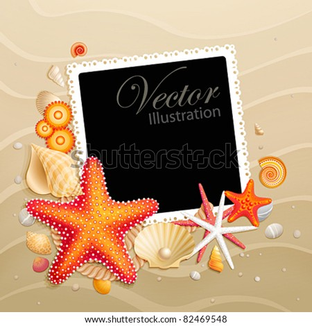 Picture, shells and starfishes on sand background. Vector illustration. - stock vector