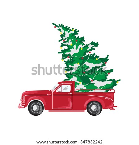 Picture with red car and Christmas tree. Christmas picture. Red pickup - stock vector