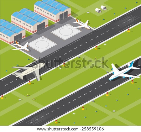Picture with the image planes and airport runway - stock vector