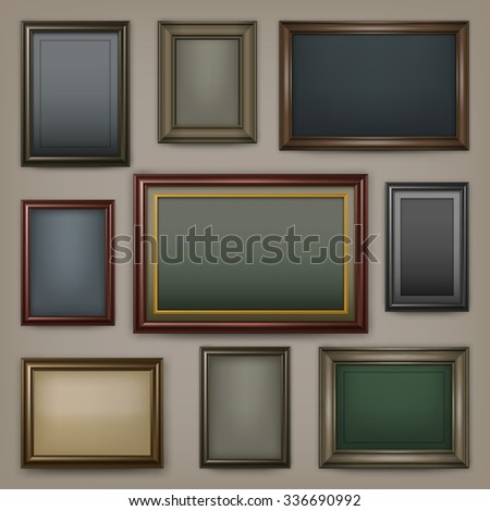 Picture wooden frames on dark background, vector illustration - stock vector