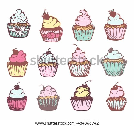 Pictures of cupcakes with cream.