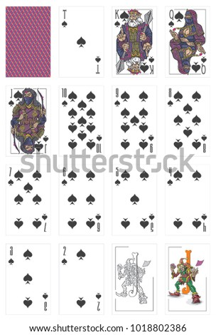Pictures of playing cards, Spades suit from deuce to ace, jokers and back side shirt