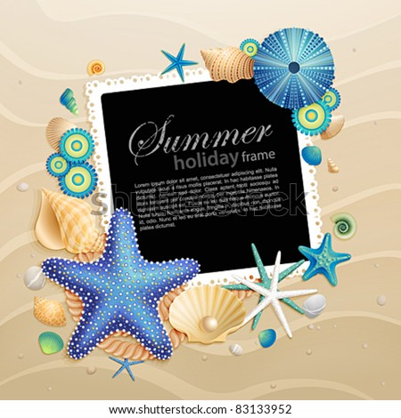 Pictures, shells and starfishes on sand background. Vector illustration.