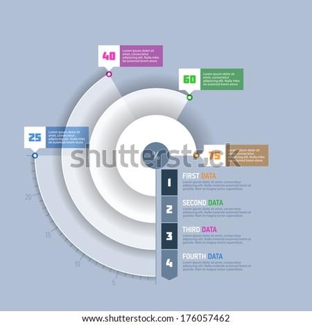 Pie chart, circle graph infographics element. Vector.  - stock vector
