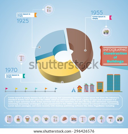 Pie chart construction diagram. Buildings construction infographic vector illustration. Trustworthy real estate company presentation template. - stock vector