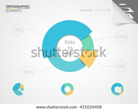 Pie Chart Elements Infographic Presentation Templates Stock Vector  431026408   Shutterstock  Pie Chart Templates
