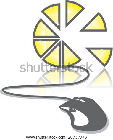 Pie Chart Mouse Click - stock vector