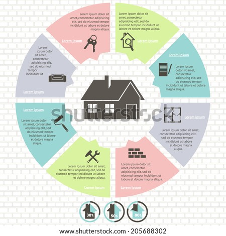 pie charts of real estate infographic set  vector illustration  - stock vector