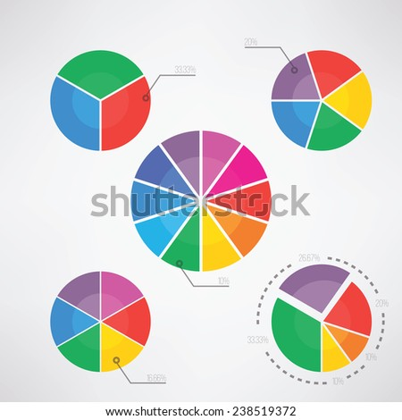 Pie Charts with percentages text vector illustration. - stock vector