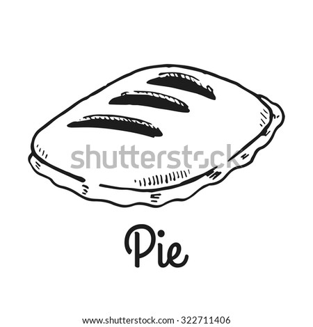 Pie. Isolated with the inscription. Graphic art. Hand drawing - stock vector