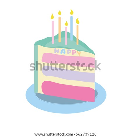 Piece Birthday Cake Colorful Cake Candles Stock Vector 562739128