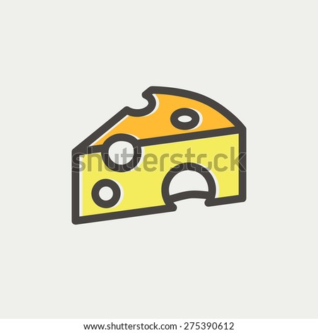 Piece of cheese icon thin line for web and mobile, modern minimalistic flat design. Vector icon with dark grey outline and offset colour on light grey background. - stock vector
