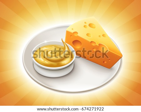 Piece of cheese with a bowl of cheese sauce isolated on striped background in 3d illustration
