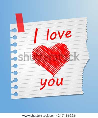Piece of paper love you  - stock vector