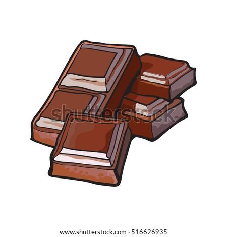 Pieces Dark Chocolate Bar Sketch Style Stock Vector ... - Dessin Tablette De Chocolat