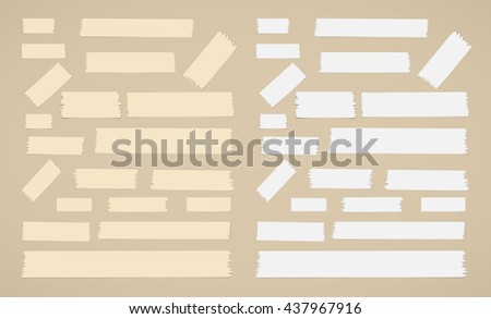 Pieces of different size sticky, adhesive masking tape are on brown background
